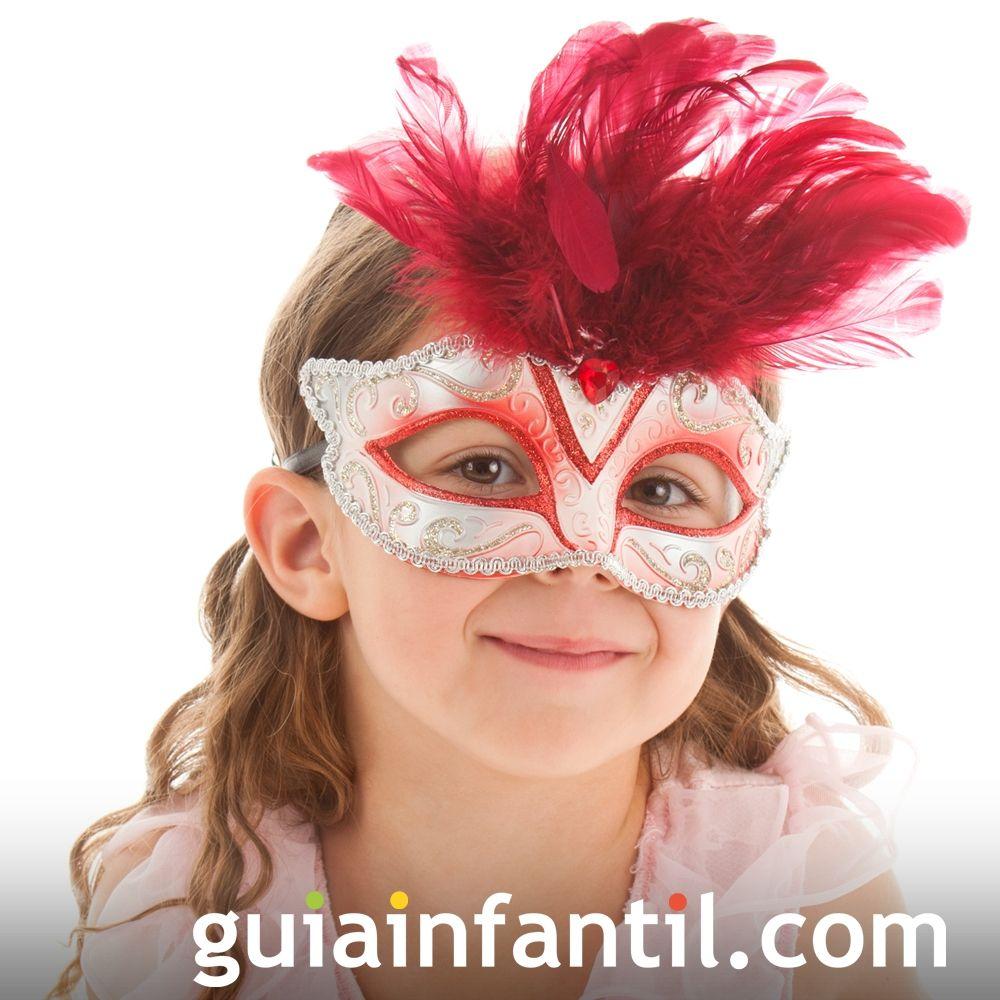Antifaz con plumas. Máscara para niños