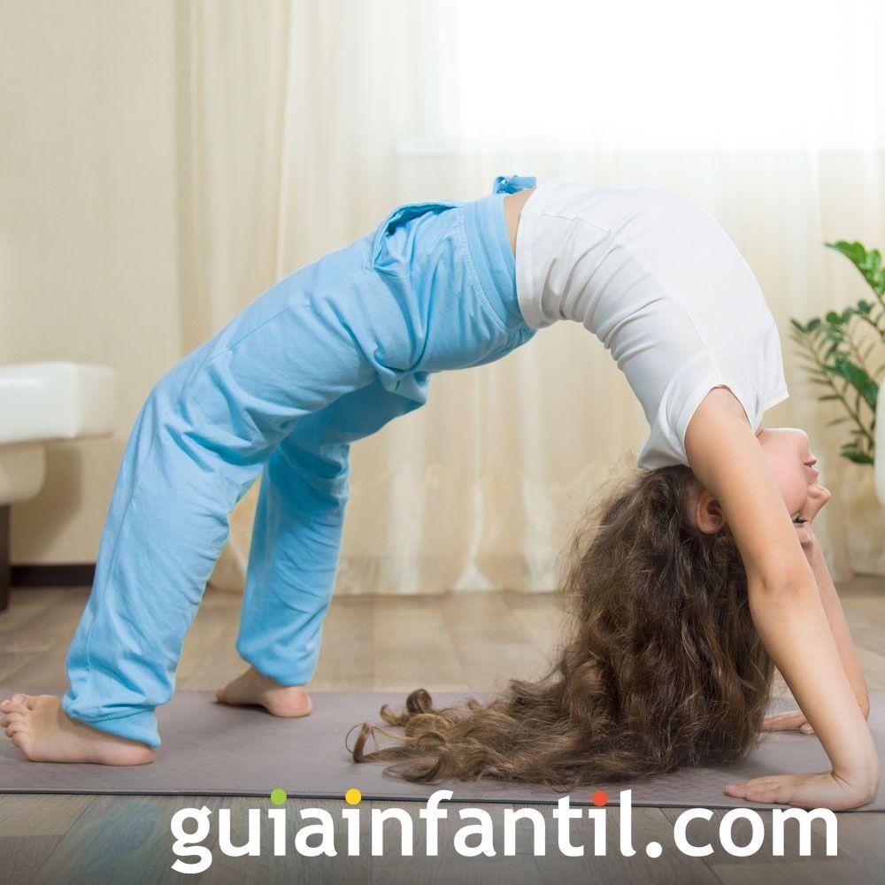 Postura de la rueda. Posturas de yoga para niños