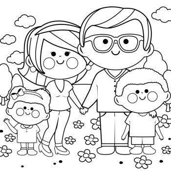 Dibujo De Familia Para Colorear Facil