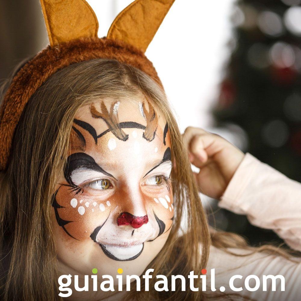 Ideas para complementos caseros de Navidad. Maquillaje de Reno