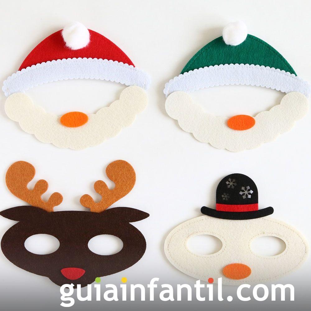 Ideas para complementos caseros de Navidad para niños. Caretas de Navidad