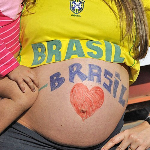 Barriga pintada apoyando a Brasil
