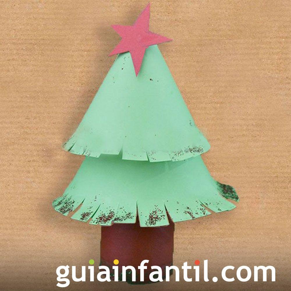 Árboles de Navidad caseros para hacer con los niños. Árbol de cartón