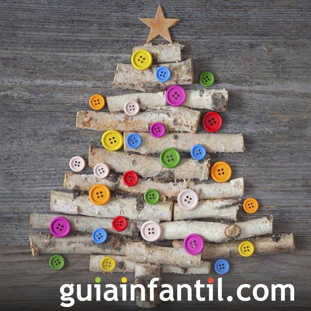Árboles de Navidad caseros para hacer con los niños. Árbol de Navidad con ramas y botones