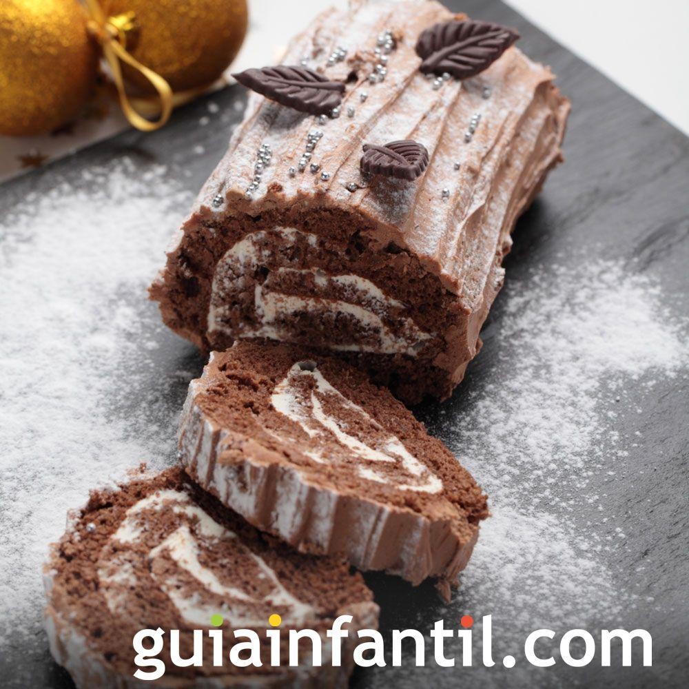 Tronco de chocolate relleno de nata y turrón