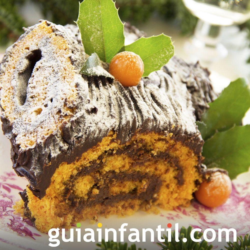 Tronco de Navidad de zanahoria y chocolate