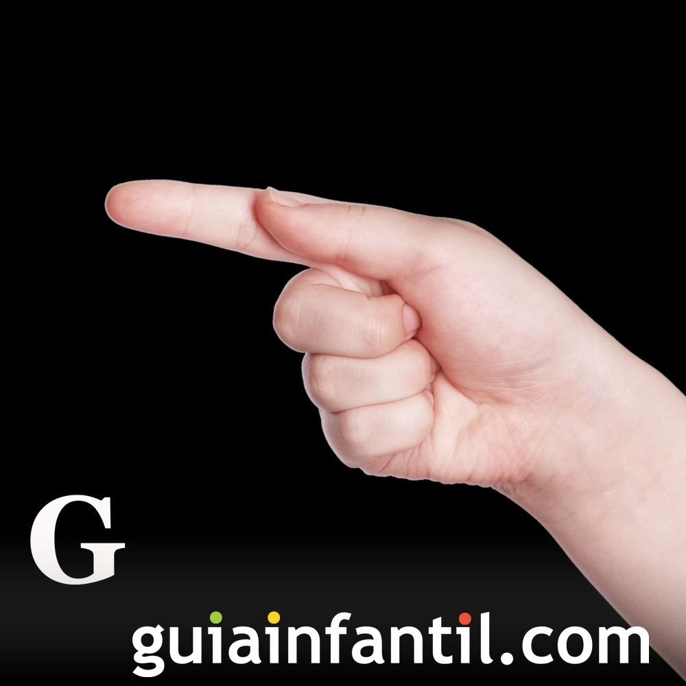 Letra G. Abecedario en lenguaje de signos