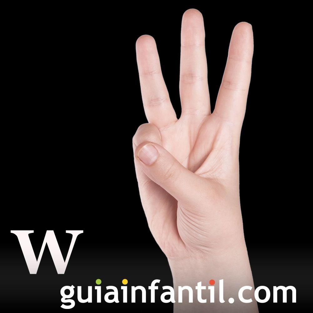 Letra W. El abecedario con las manos