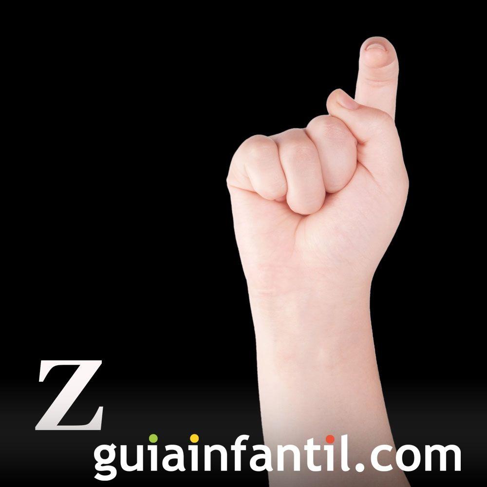Letra Z. El alfabeto en lenguaje de signos