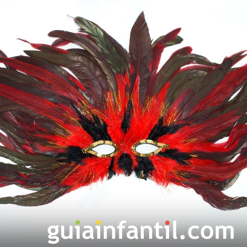 Antifaz explosivo rojo y negro