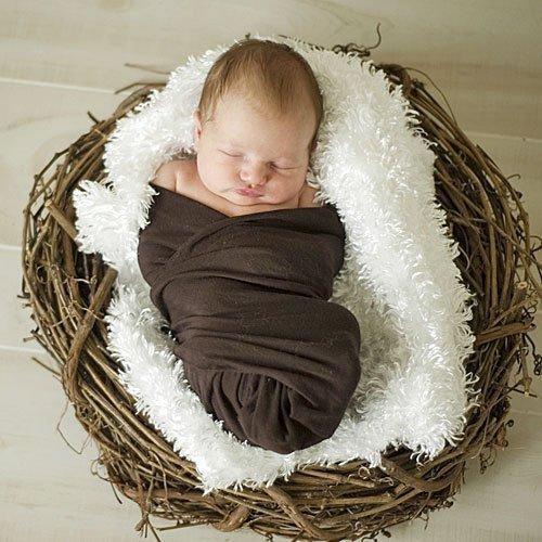 Foto de bebé dormido en un nido