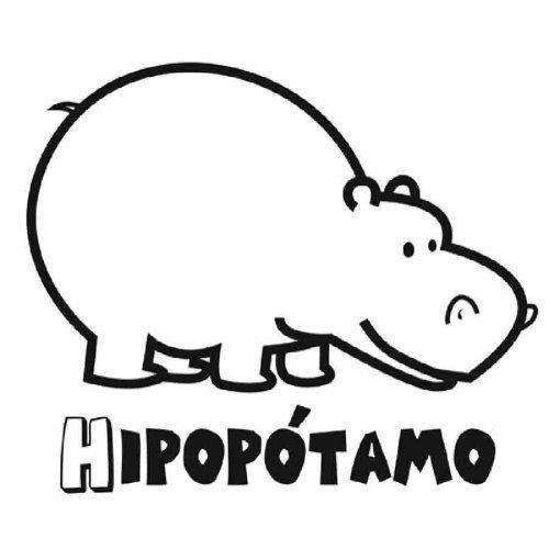 Dibujo infantil de hipoptamo  Dibujos para colorear de animales