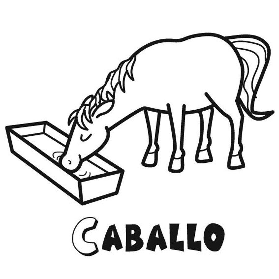 Imprimir dibujo infantil para colorear de un caballo - Dibujos en la pared infantiles ...