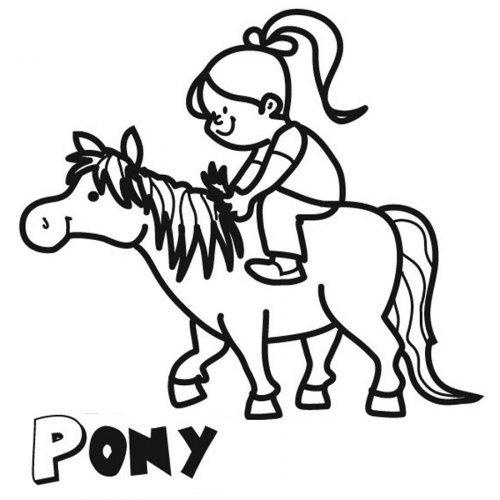 Dibujo de una niña con su pony para pintar