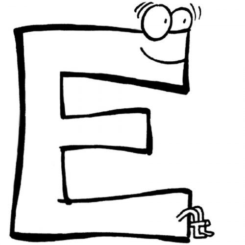 Dibujo para colorear de la letra E