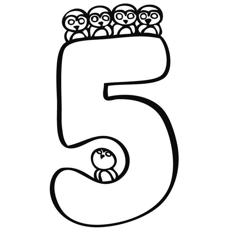 Dibujo Para Colorear Del Número 5