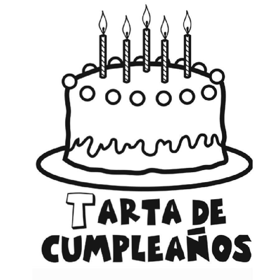 Dibujo de tarta de cumpleaños para pintar