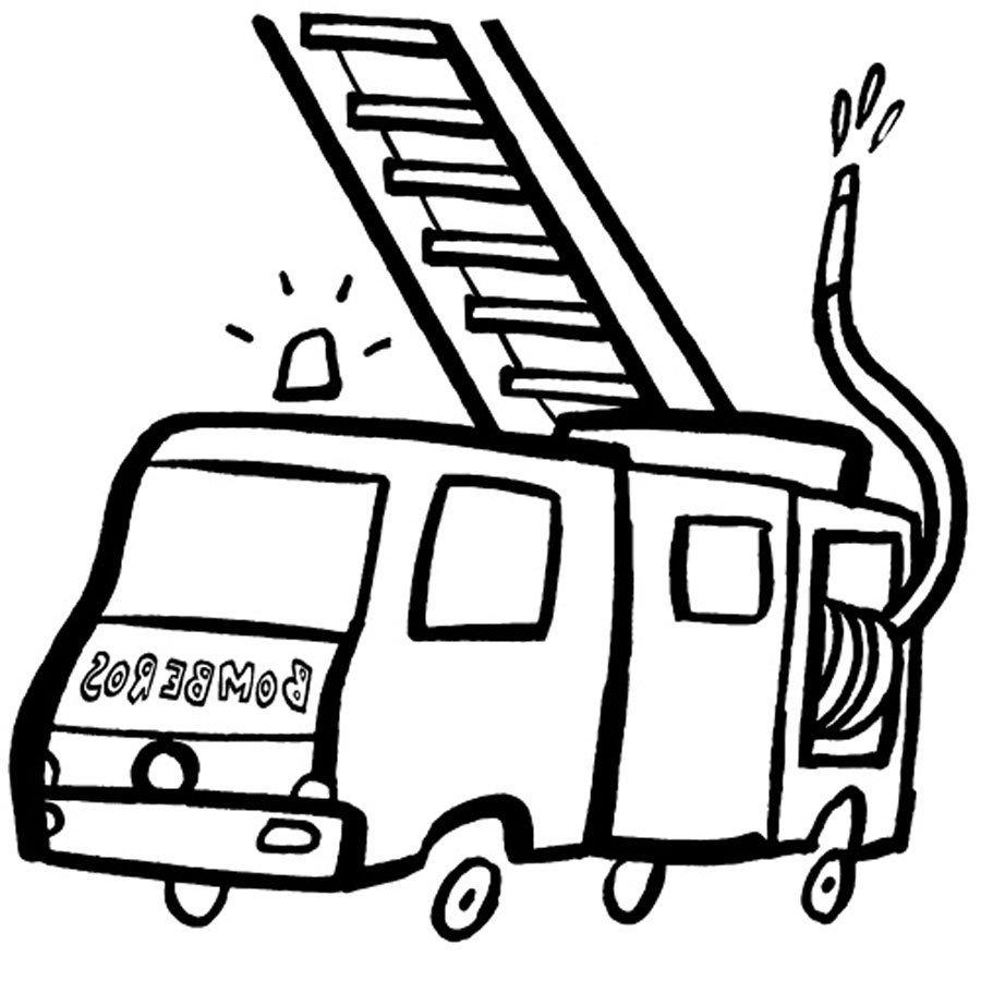 Imprimir Dibujo con un camin de bomberos para pintar  Dibujos