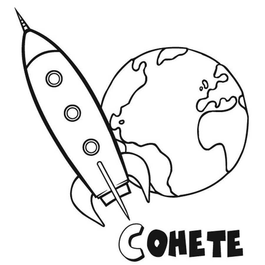 Dibujo con un cohete para colorear