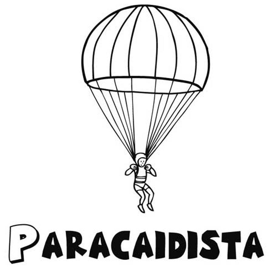 Dibujo para imprimir y pintar de un paracaidista