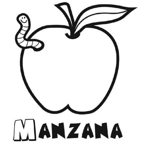Dibujo de una manzana para pintar  Dibujos para colorear de frutas