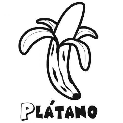 Dibujo para pintar de un pltano  Dibujos para colorear de frutas