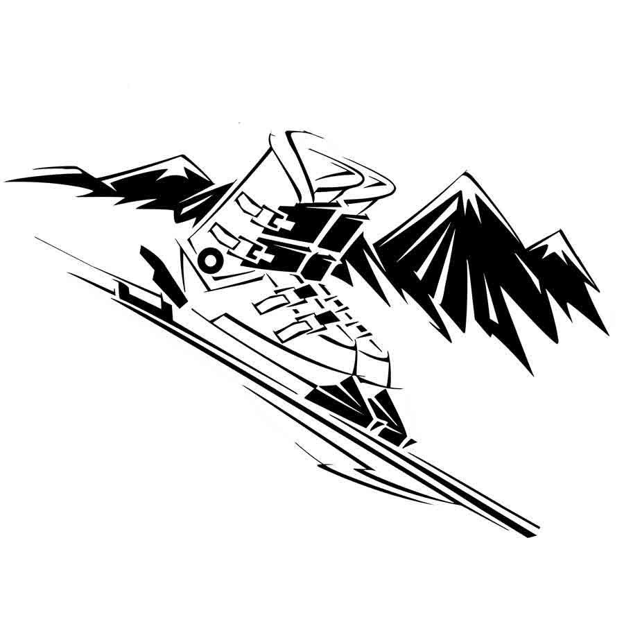 Dibujo para imprimir y colorear de unos esquís