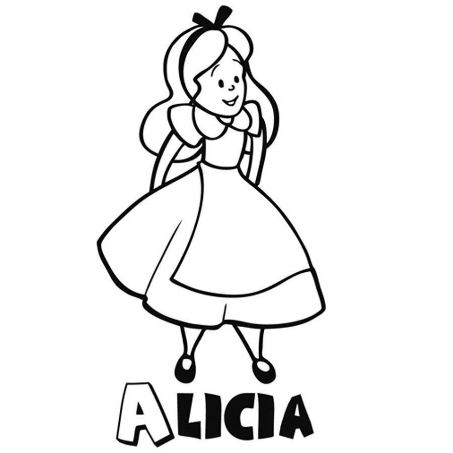 Dibujo para pintar a Alicia en el País de las Maravillas