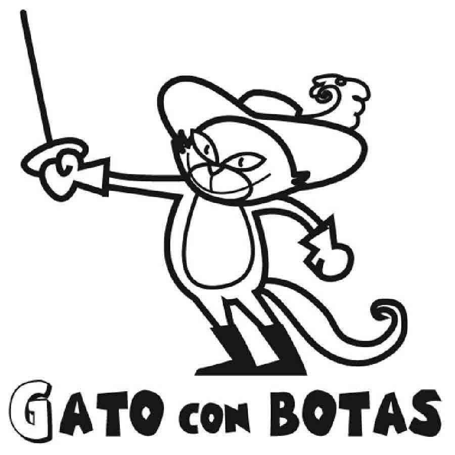Dibujo del Gato con Botas para imprimir y colorear