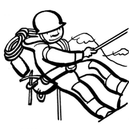 Dibujo de un alpinista para pintar