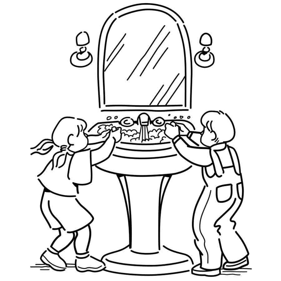 Dibujo Para Pintar De Niños Lavándose Los Dientes