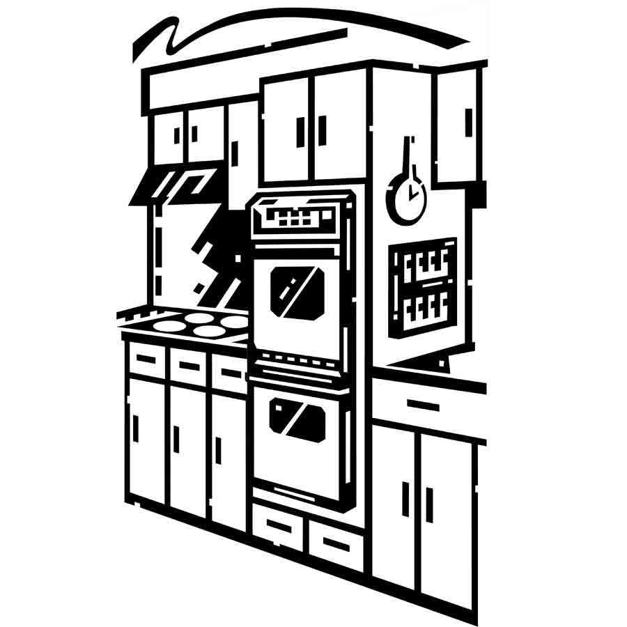 Imprimir dibujo de una cocina para imprimir y pintar - Imagenes de cocinas para imprimir ...