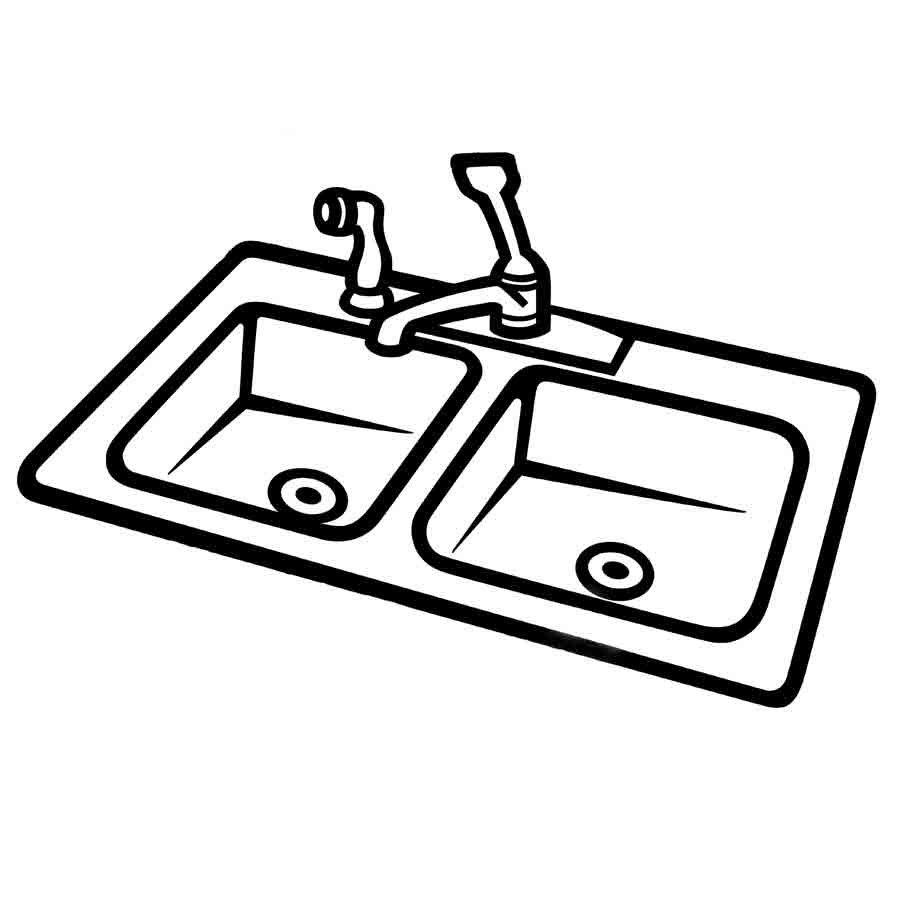 Dibujo para colorear de un fregadero