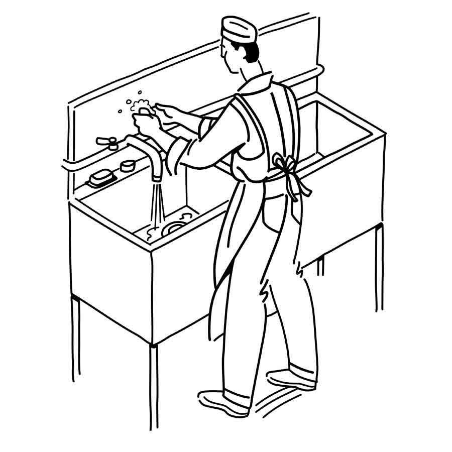Dibujo para pintar: fregando los platos