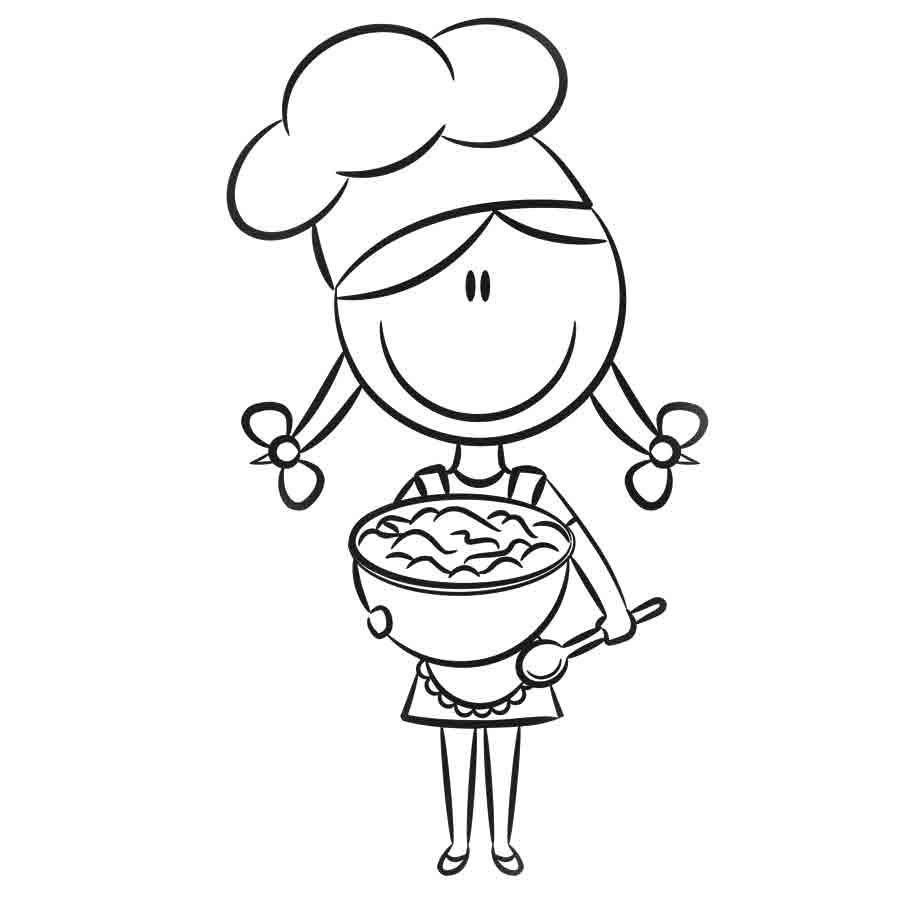 Dibujo de una niña cocinando para pintar