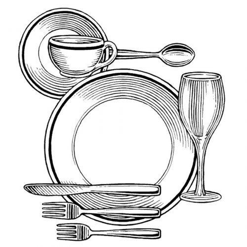 Dibujo para colorear de platos y vasos