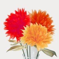 Flores en papel crepé. Manualidades para niños