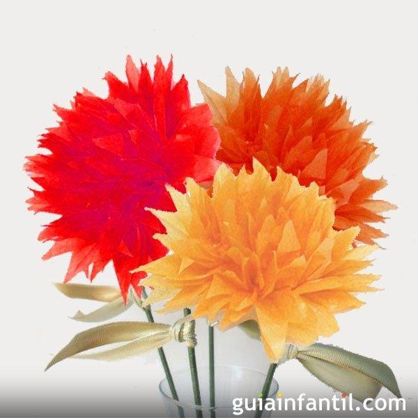 Manualidad infantil flor en papel crep - Como se hacen flores de papel ...