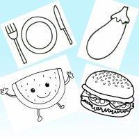 Dibujos para colorear con niños de comidas