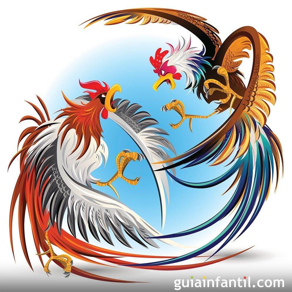 Los dos gallos. Fábulas de La Fontaine