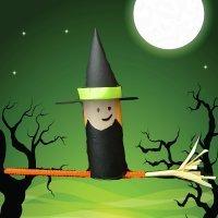Bruja de Halloween. Manualidades de reciclaje para niños