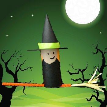 Bruja de halloween manualidades de reciclaje para ni os - Manualidades halloween faciles para ninos ...