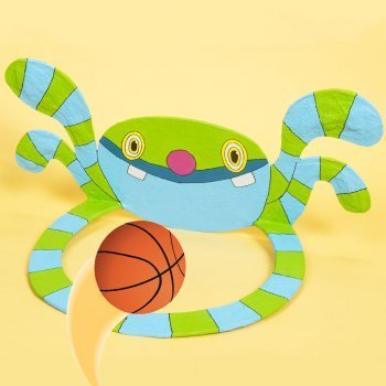 Canasta monstruo de baloncesto. Manualidades infantiles de cartón