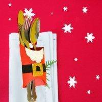 Porta cubiertos de Papá Noel. Manualidades de Navidad