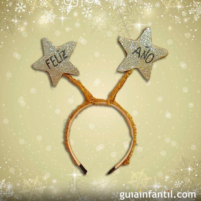 diadema para año nuevo con estrellas manualidad navideña