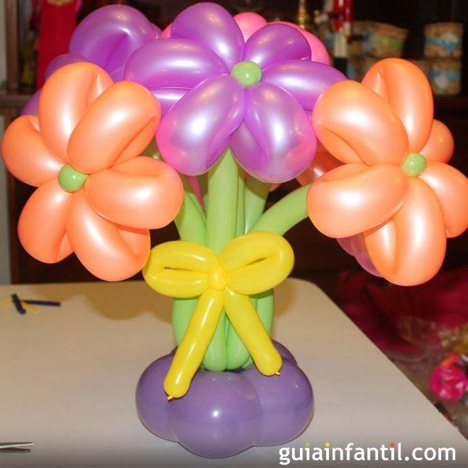 Ramo De Flores Con Globos Manualidad De Globoflexia Para Ninos