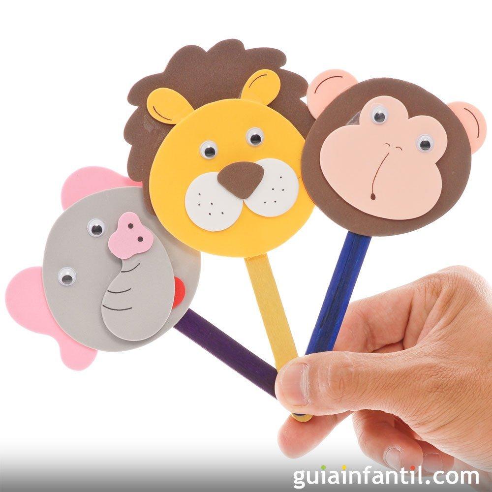 Marionetas de animales con palos de helado manualidad para ni os - Imagen de manualidades ...