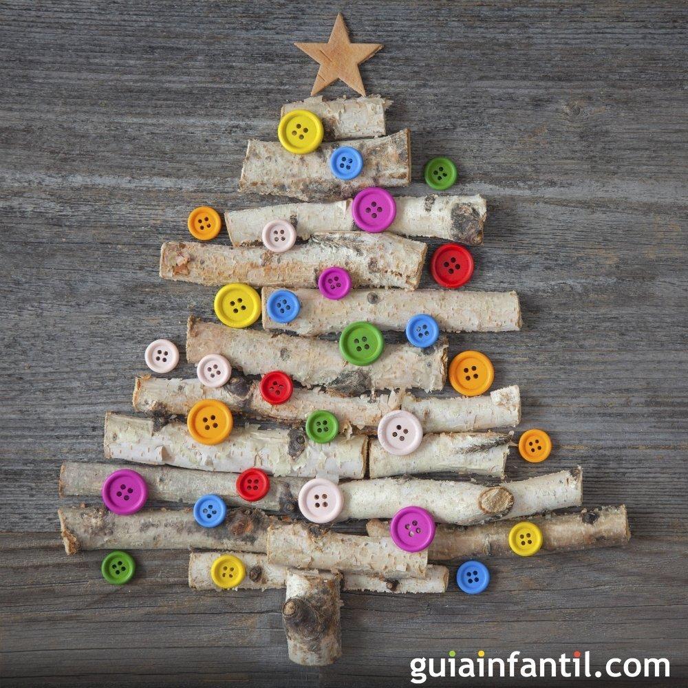 Rbol de navidad con ramas y botones para ni os - Arbol de navidad con ramas ...