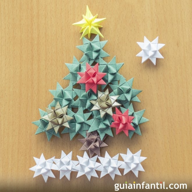 Rbol de navidad con estrellas manualidad infantil - Arbol de navidad infantil ...