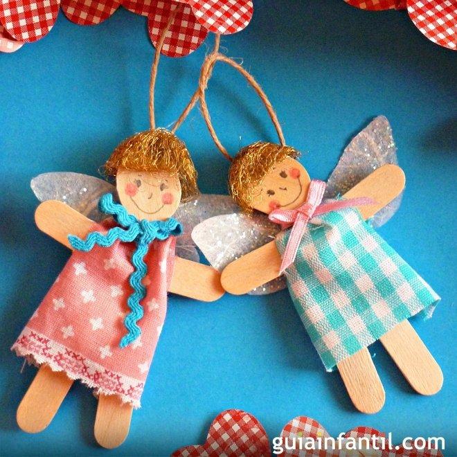 ángeles Con Palos De Helado Manualidades Navideñas